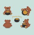 bears toys set brown bear cartoon honey pot vector image