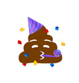 brown dung face flat icon with party hat and vector image vector image