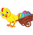 cartoon baby chick pulling a cart full of egg vector image vector image