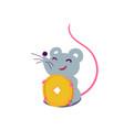 cartoon cute rat in simple flat style sitting vector image vector image