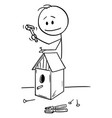 cartoon man building birdhouse vector image