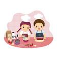 cartoon siblings baking together vector image vector image