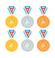 cat and dog medals set in flat style vector image