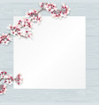 cherry blossom with empty paper on wood top vector image vector image