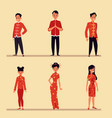 chinese people in traditional red costume vector image vector image