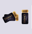 cinema black and gold tickets isolated on grey vector image