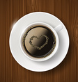 cup of coffee and heart of the bubbles vector image