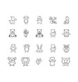dolls and stuffed toys line icons signs vector image vector image