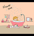 doodle hand drawn happy girl take shower in vector image