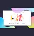 garment designer website landing page dressmaker vector image vector image