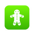 gingerbread man icon digital green vector image