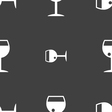 glass of wine icon sign Seamless pattern on a gray vector image vector image