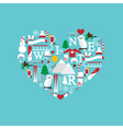 heart from winter icons color vector image