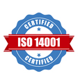 ISO 14001 certified stamp - quality standard seal vector image vector image