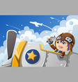 kid playing with an airplane vector image vector image