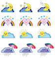 Kwaii weather icons vector image