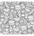 monochrome wallpaper with food and drinks vector image vector image