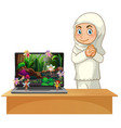 muslim girl next to laptop with fairy tale vector image