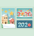 new year 2020 greeting cards village stars gift vector image vector image