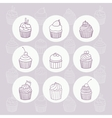 Nine hand drawn outline cupcakes vector image vector image