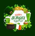 patricks day leprechaun hat gold green shamrock vector image