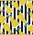 pears seamless pattern on stripes background vector image vector image