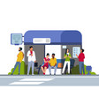 people on bus stop cartoon characters in queue vector image vector image