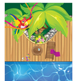 pool and parrot vector image vector image
