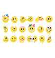 retro melting crazy and dripping smiley face vector image vector image