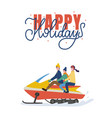riding family holidays on snowmobiling vector image vector image