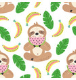 Seamless pattern with cute sloth and fruit