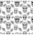 seamless pattern with sugar skulls and roses dead vector image vector image