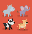 set animal caricature of zoo in color background vector image