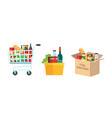 shopping food carts grocery store supermarket vector image