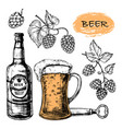 sketched beer collection with glass bottle and vector image vector image