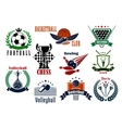 Sport games icons and heraldic emblems vector image vector image