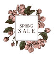 spring sale badge over hand drawn apple flowers vector image