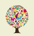 spring season tree colorful springtime icons vector image vector image