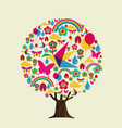 spring season tree of colorful springtime icons vector image vector image