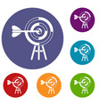 target with an arrow icons set vector image vector image