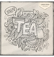 Tea hand lettering and doodles elements vector image