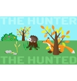 The hunter or the hunted Mouse hedgehog fox vector image