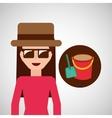 toursit female hat sunglasses bucket shovel sand vector image vector image