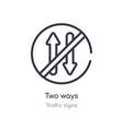 two ways outline icon isolated line from traffic vector image vector image