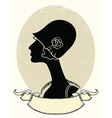 Vintage woman portrait black silhouette on white vector image