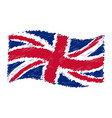uk flag - union jack - grunge pencil drawing vector image