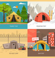 camping tent concept 4 icons square composition vector image