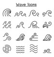 abstract wave icon set in thin line style vector image