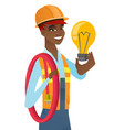 african-american electrician holding lightbulb vector image vector image