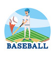 baseball player with professional bat and ball vector image vector image